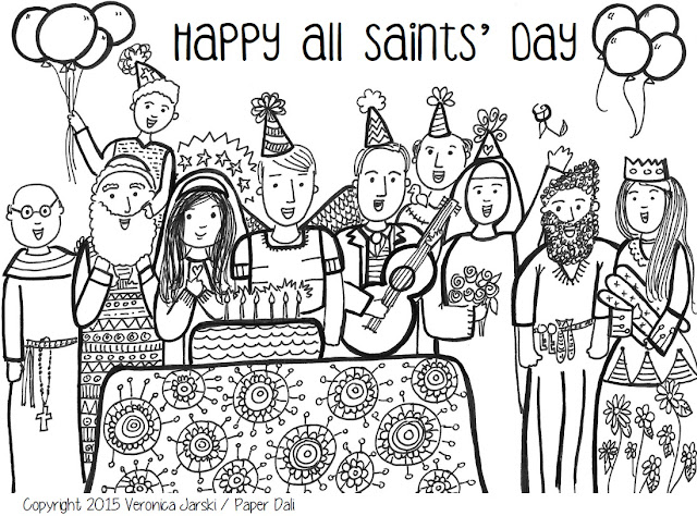 Paper Dali: Free All Saints' Day Coloring Page