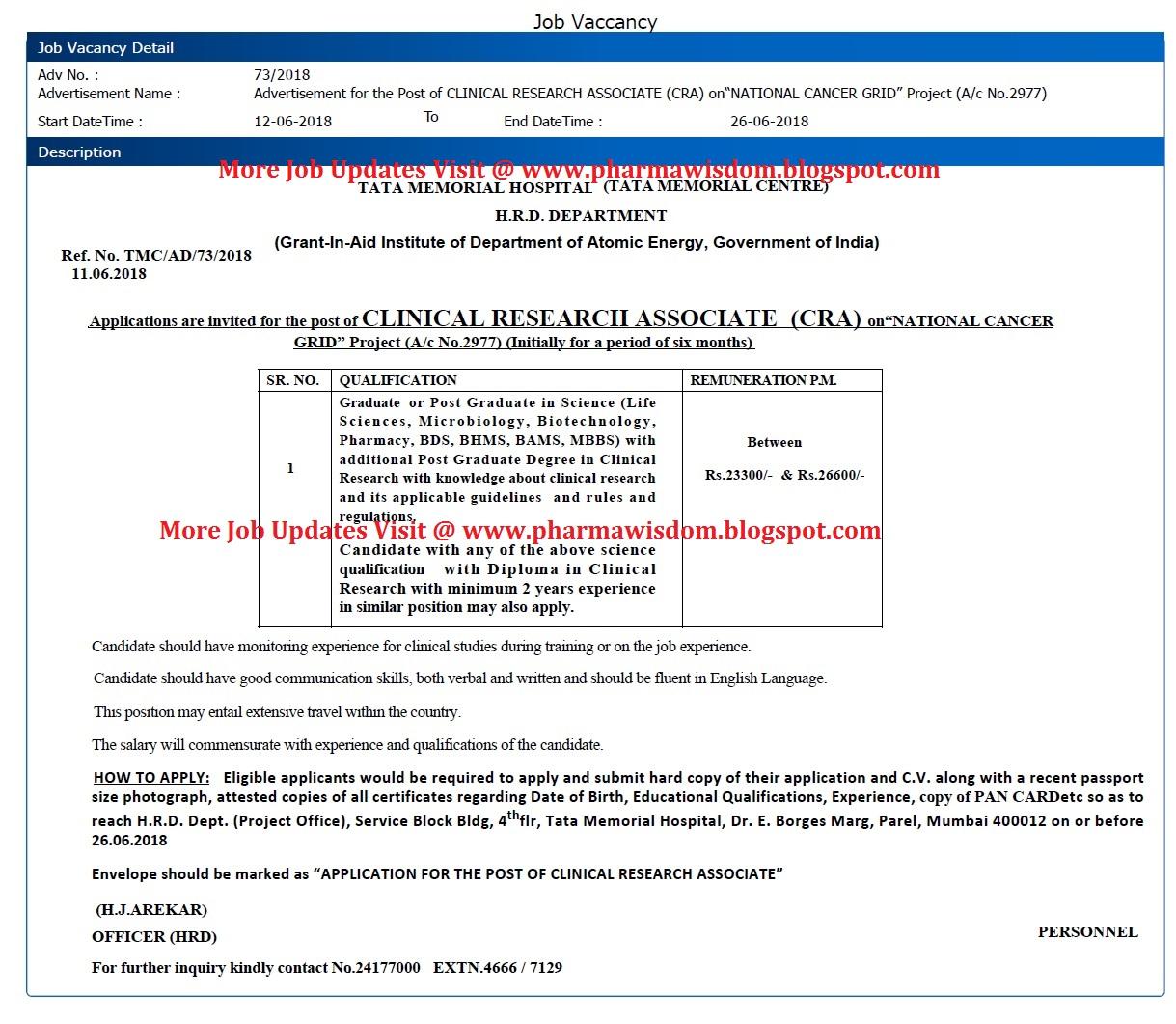 Job Vacancy for Clinical Research Associate (CRA) @ TATA MEMORIAL