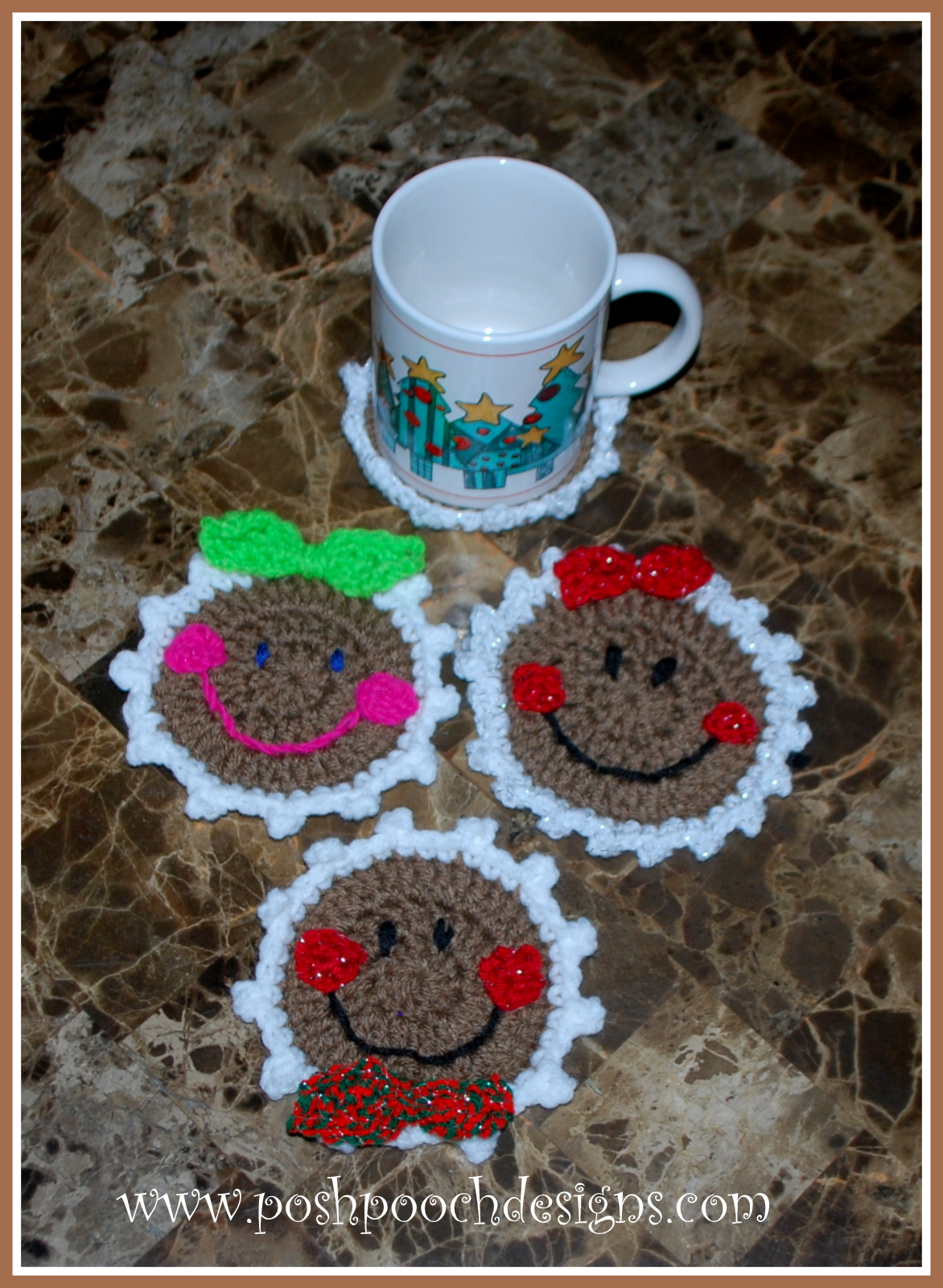 Posh Pooch Designs Dog Clothes Gingerbread Coaster Crochet Pattern