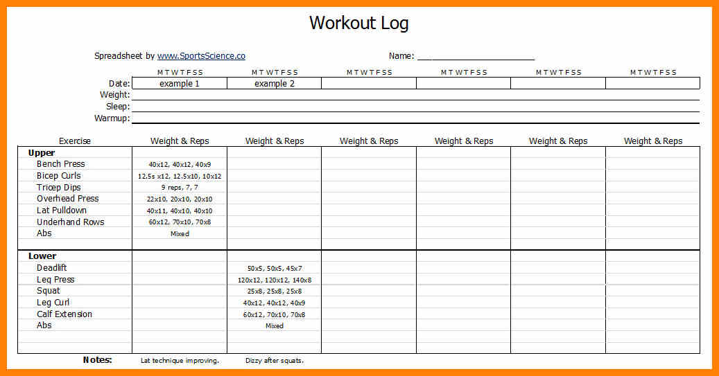Workouts log templates printable in PDF - Excel Template