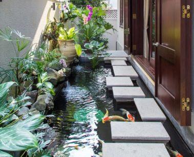 foto taman dan kolam iklan samping rumah