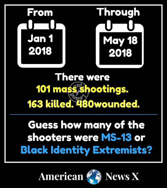 Graphic:  From Jan 1 2018 through May 18 2018 there were 101 mass shootings, 163 killed, 480 wounded.  Guess how many of the shooters were MS-13 or Black Identity Extremists?