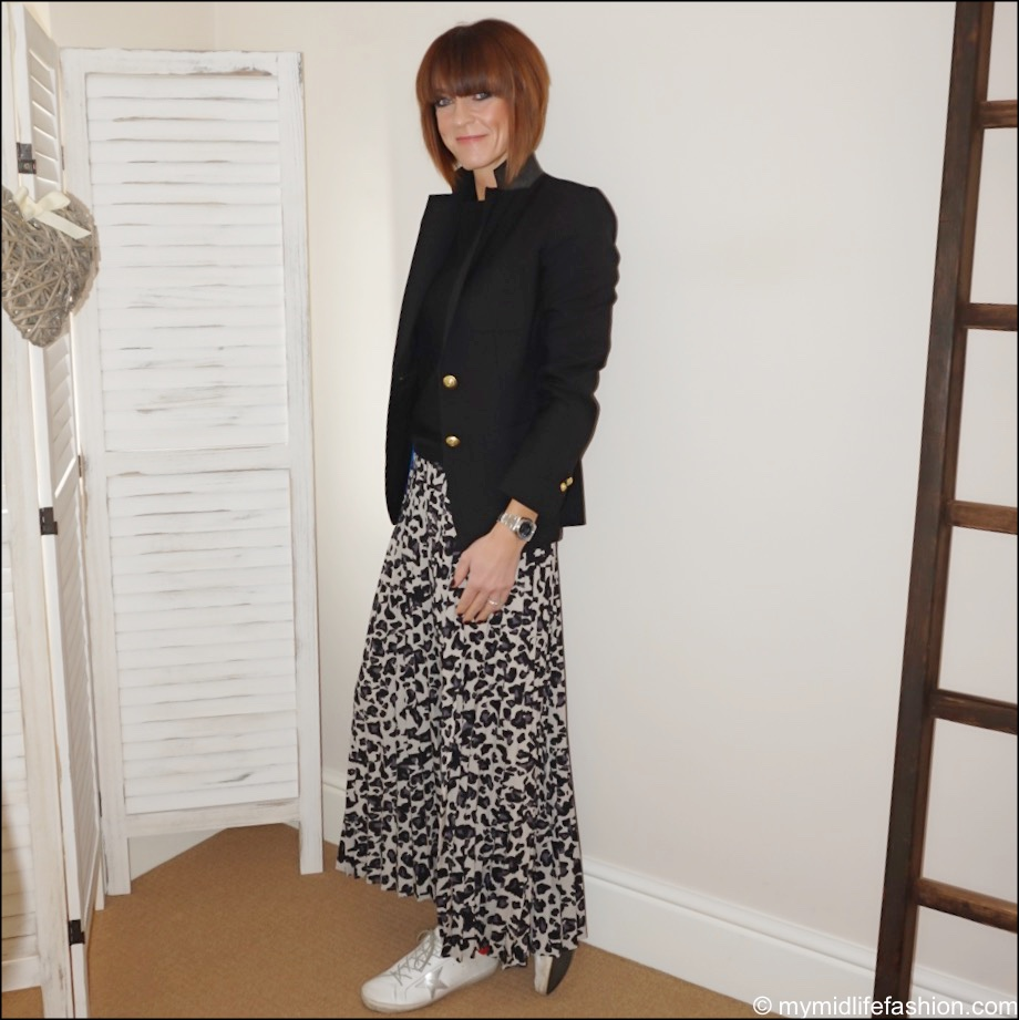 my midlife fashion, j crew rhodes blazer, boden cashmere crew neck jumper, jd williams leopard print pleated maxi skirt, golden goose superstar low top leather trainers