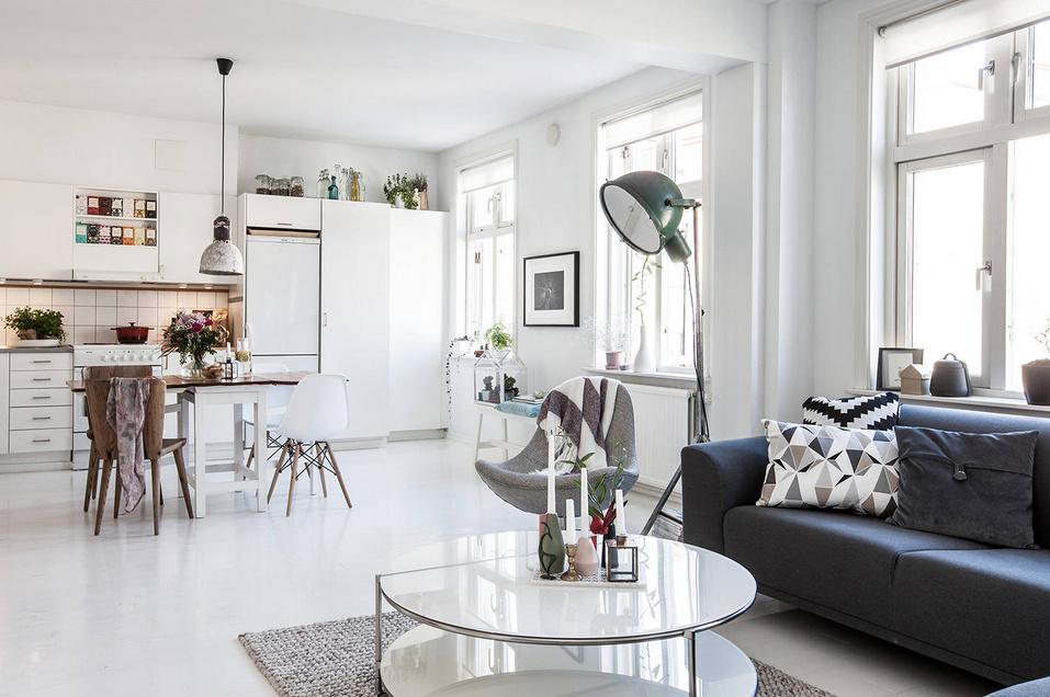 decoración de cocina y salón estilo nórdico blanca para alquilar