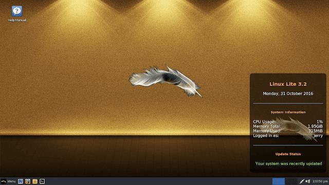 Linux Lite 3.2 rodando o Lite Desktop Widget