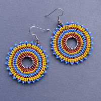 bohemian ethnic beaded earrings circular colorful beadwork