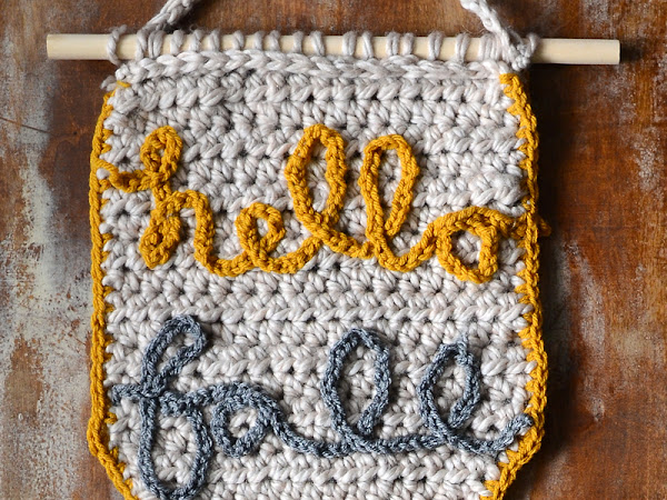 Hello Fall Home Décor Crocheted Banner