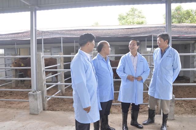 """Ông Hoàng Thanh Vân (thứ 2 từ phải sang) rất tâm đắc với chương trình """"Ứng cụng công nghệ cao trong sản xuất tinh bò thịt chất lượng cao""""."""