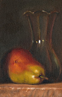 Oil painting of a green and red pear beside a tulip-shaped glass vase.