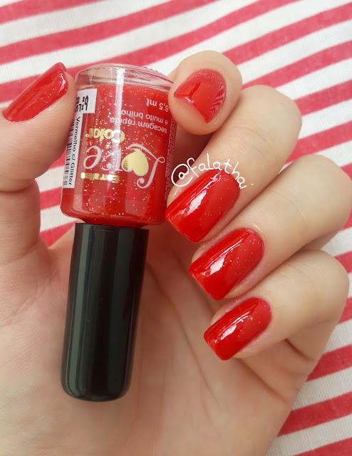 Esmaltes Love Color vermelho com glitter