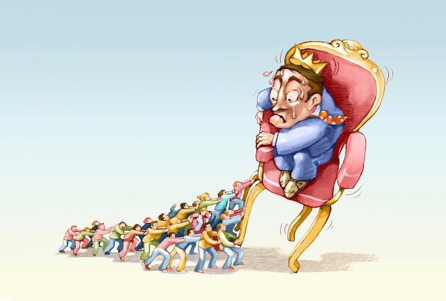Cartoon of a king being tipped out of his chair by an organised group of much smaller people