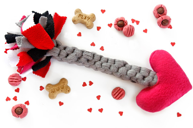 DIY Cupid's arrow Valentine's Day dog tug and squeaky toy