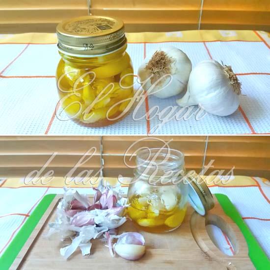 Ajos confitados en aceite de oliva