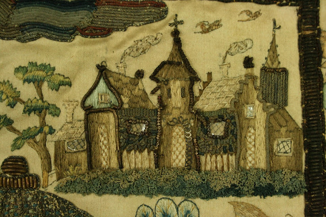 17th century English stump work embroideries were filled with religious references and symbolism. The restoration and preservation of these multi-media artifacts needs to be approached carefully. This embroidery was expert preserved and repaired by a professional conservator at  Spicer Art Conservation in New York State