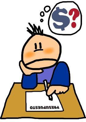caricatura de un hombre realizando un presupuesto a mano
