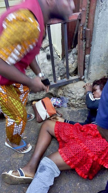 Pretty Lady Found Almost Dead in Lagos After Reportedly Being Dropped Off from a Jeep (Photos)