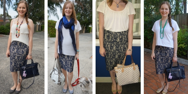 4 ways to wear a navy textured lace pencil skirt simple outfit ideas with white tops | awayfromtheblue