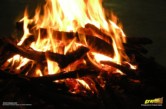 The campfire at The Silver Oak homestay Ponnampet, Kodagu district, Karnataka