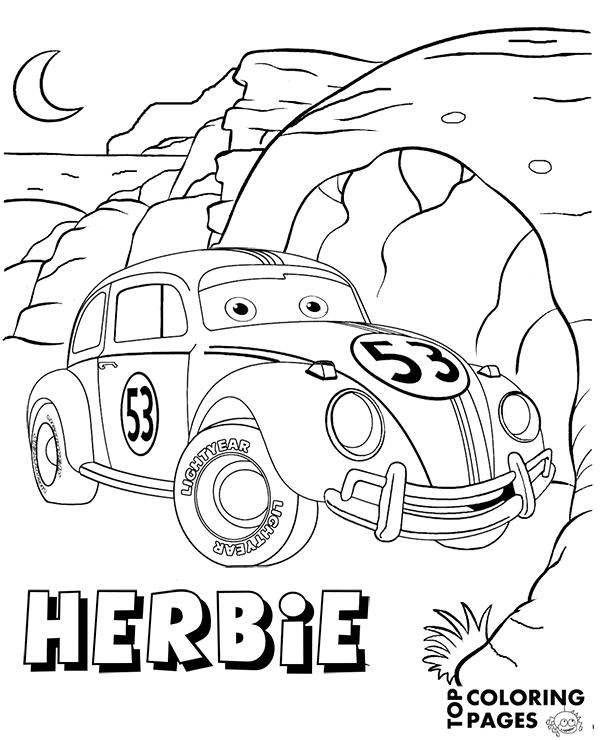 Tranh cho bé tô màu vương quốc xe hơi Herbie