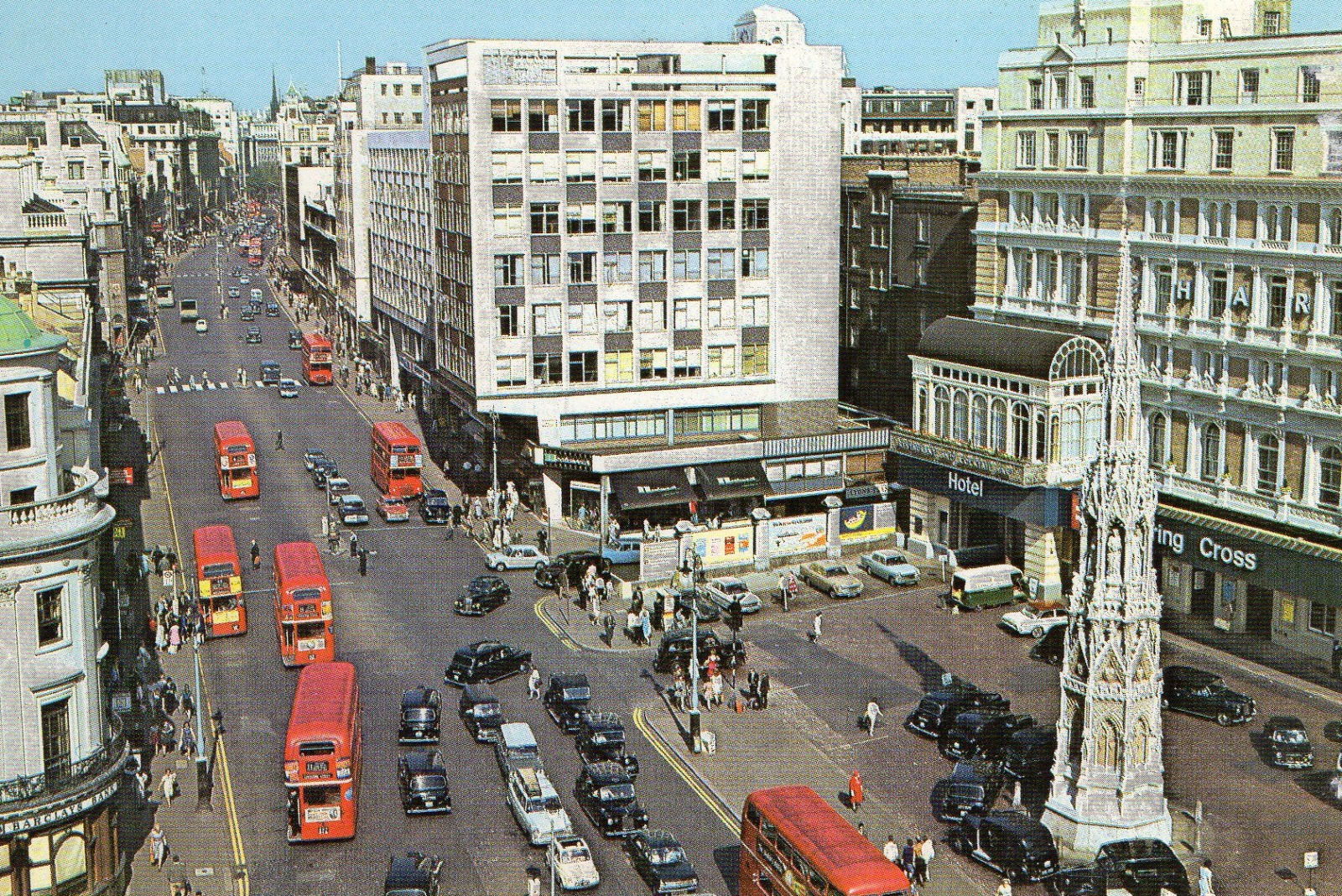 vintage, postcard, London, Charing Cross, The Strand,