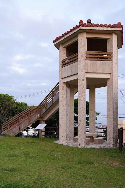 stairs, observation tower, grass, sky, Kin Town
