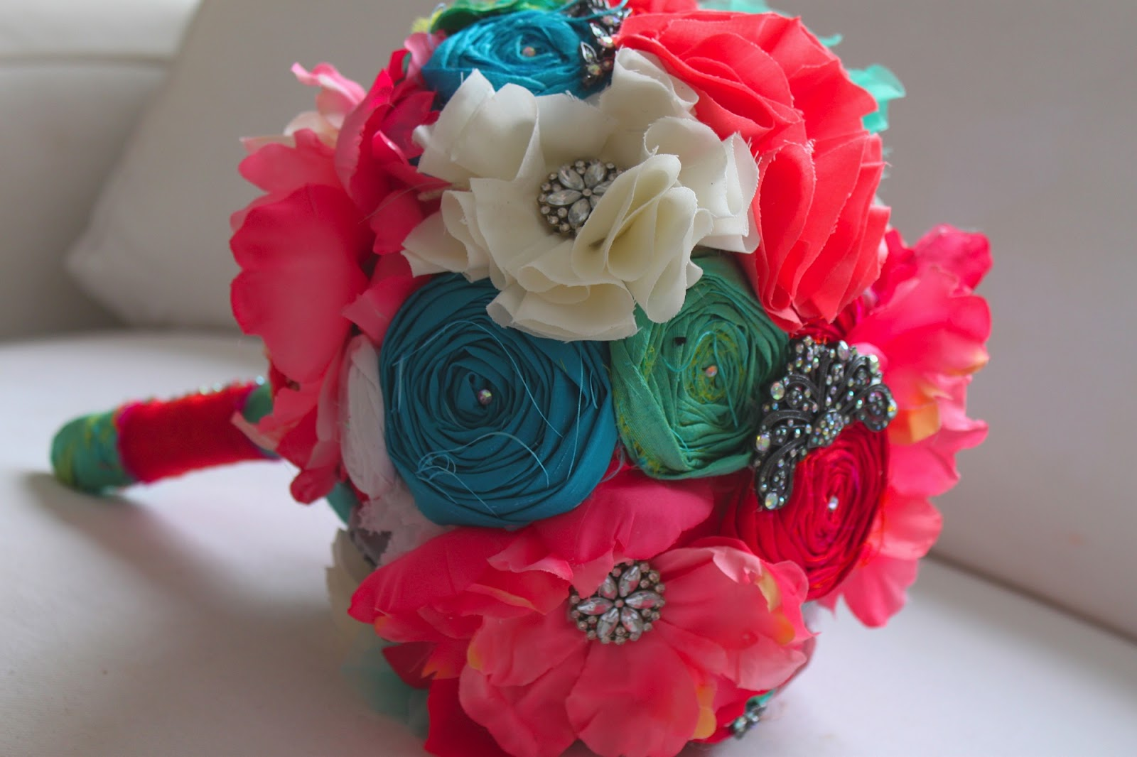 cocorosecouture coral and aqua wedding bouquet. Black Bedroom Furniture Sets. Home Design Ideas