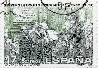 Sello del Centenario de las Cámaras de Comercio, Industria y Navegación emitido en abril de 1986