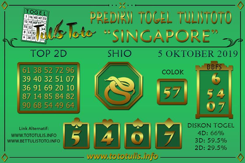 Prediksi Togel SINGAPORE TULISTOTO 5 OKTOBER 2019