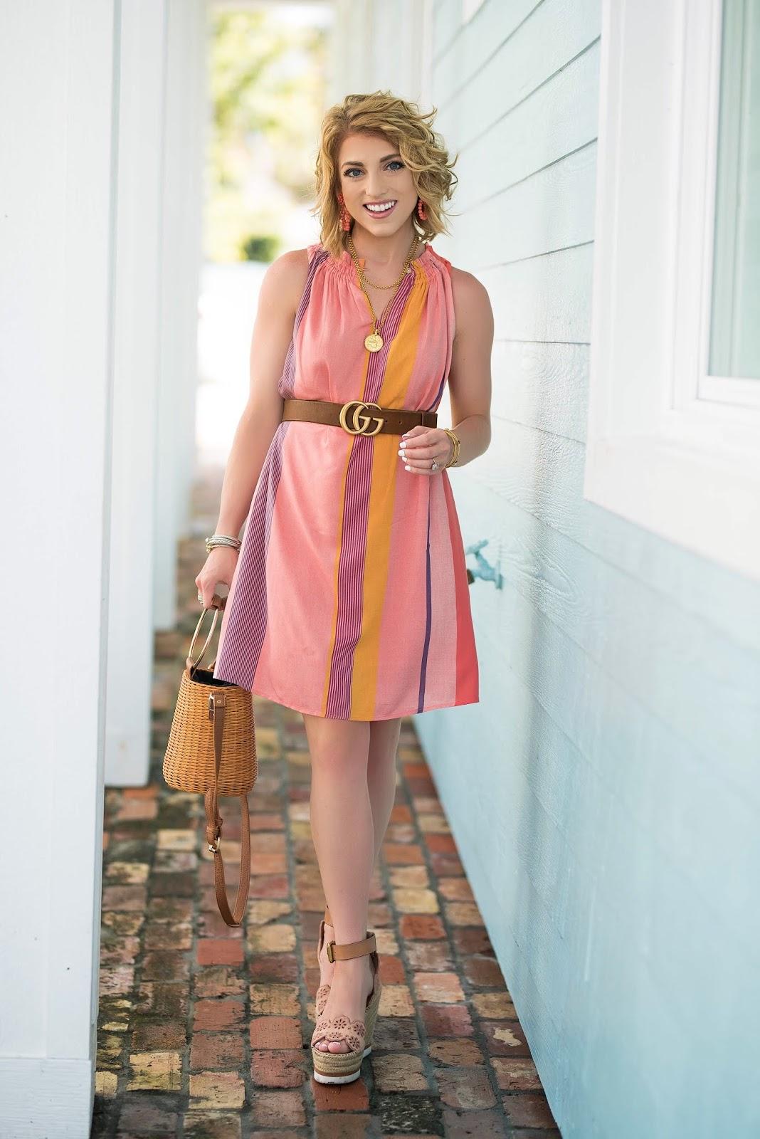 Summer Style: Loft Stripe Swing Dress + Gucci Marmont Belt - Something Delightful Blog