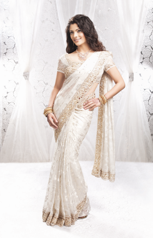 Fashion Trends Reports Embroidered Wedding Saree