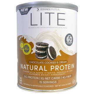 بروتين صحي بالشوكلاته والكريم والكوكيز من اي هيرب Designer Protein, Lite, Natural Protein, Chocolate Cookies & Cream, 9.03 oz (256 g)