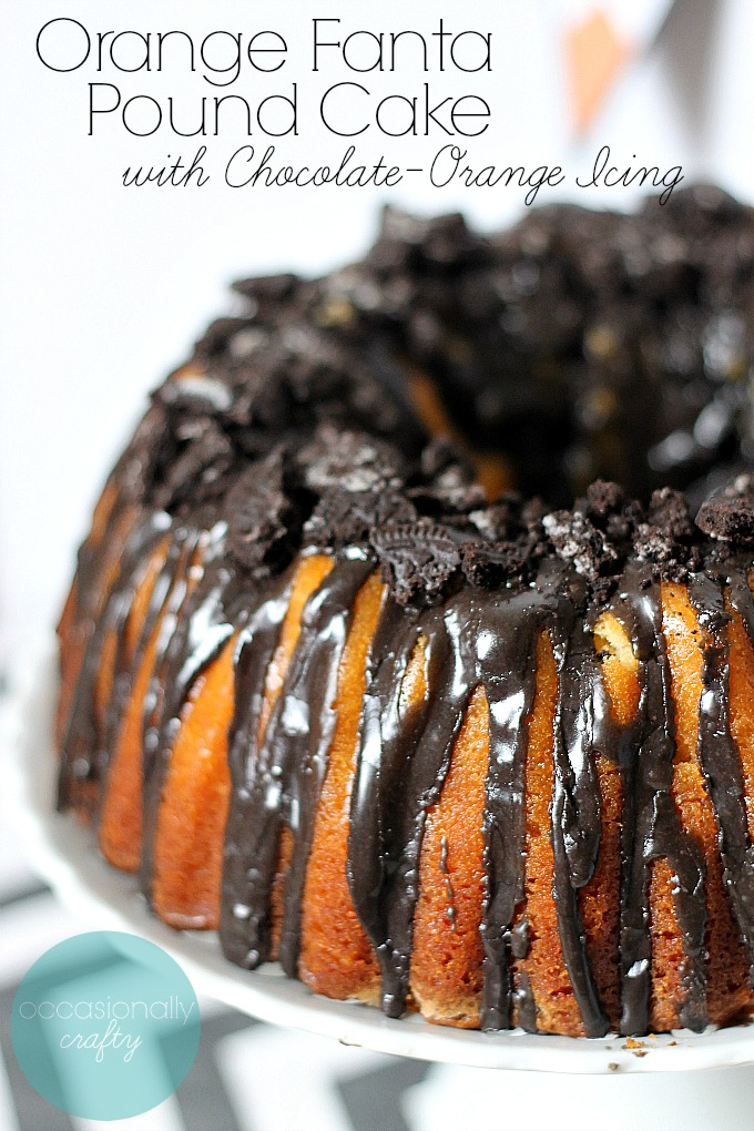 Delicious pound cake recipe made with orange soda and drizzled with chocolate-orange icing, topped with OREO crumbles.  This dessert is perfect for Halloween or for any occasion!