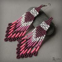 купить авторские серьги вечерние розового цвета фуксия украшения