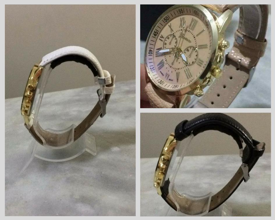 relógio feminino pulseira couro rose original geneva barato