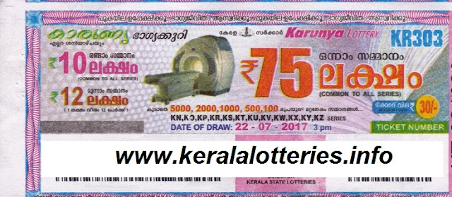 Karunya Weekly lottery (W-303) on July 22, 2017