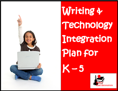 Free technology and writing integration plan with project ideas for kindergarten through fifth grade - from Raki's Rad Resources.