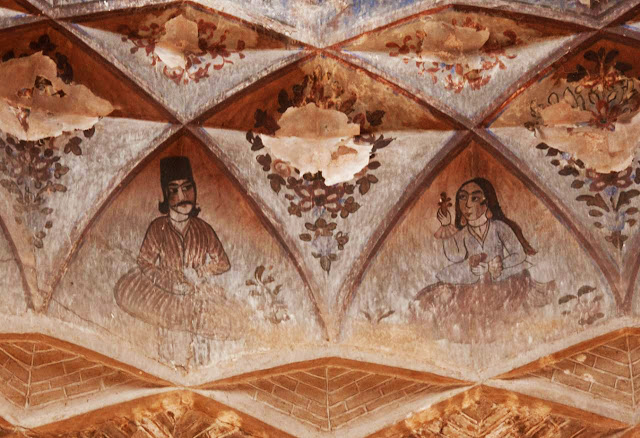 Old wall paintings in Ganj Ali Khan Bath of Kerman.