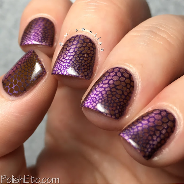 Magnetic reptilian nails for the #31DC2016Weekly - McPolish - Masura precious stones polishes