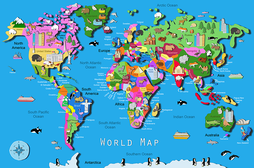 Its S A Jungle In Here Kids World Map