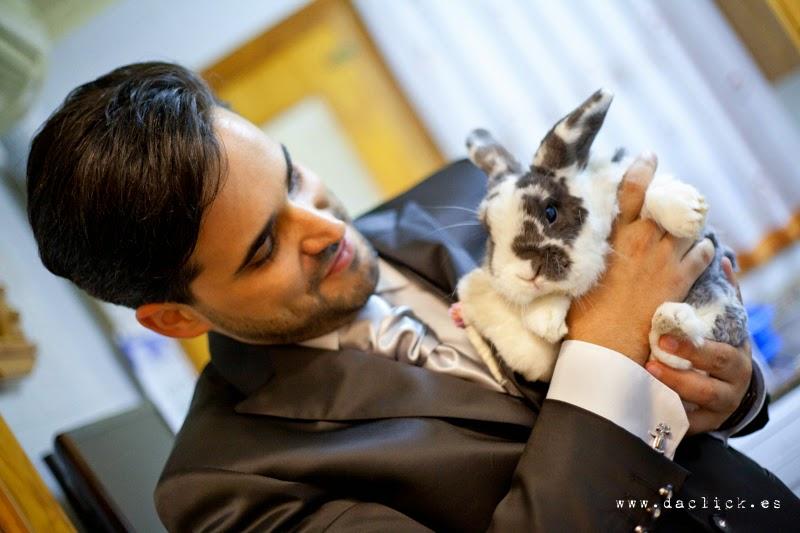 novio con su mascota , un conejo