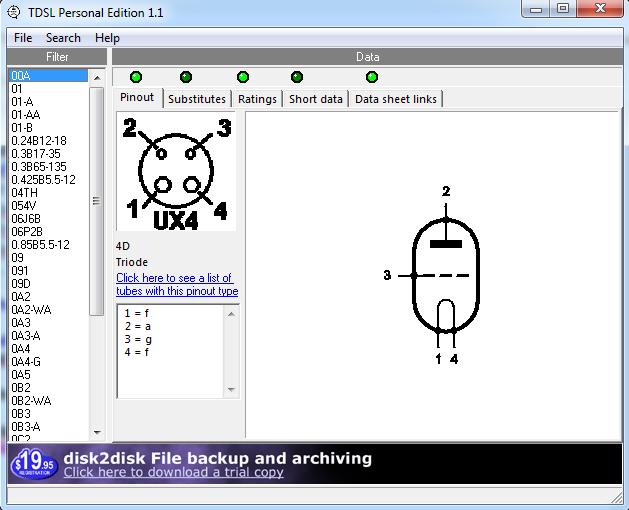 Screenshot Tube DataSheet Locator