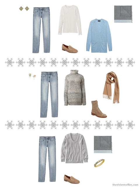 three outfits from a winter travel capsule wardrobe in camel, grey and blue