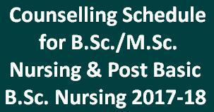 Counselling for B Sc  Nursing, Post Basic B Sc  Nursing & M Sc