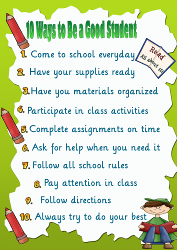 10 ways to be a good student Poster | My English Printable ...