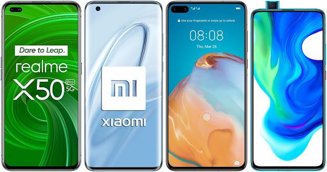 Realme X50 Pro vs Xiaomi Mi 10 vs Huawei P40 vs Xiaomi Poco F2 Pro