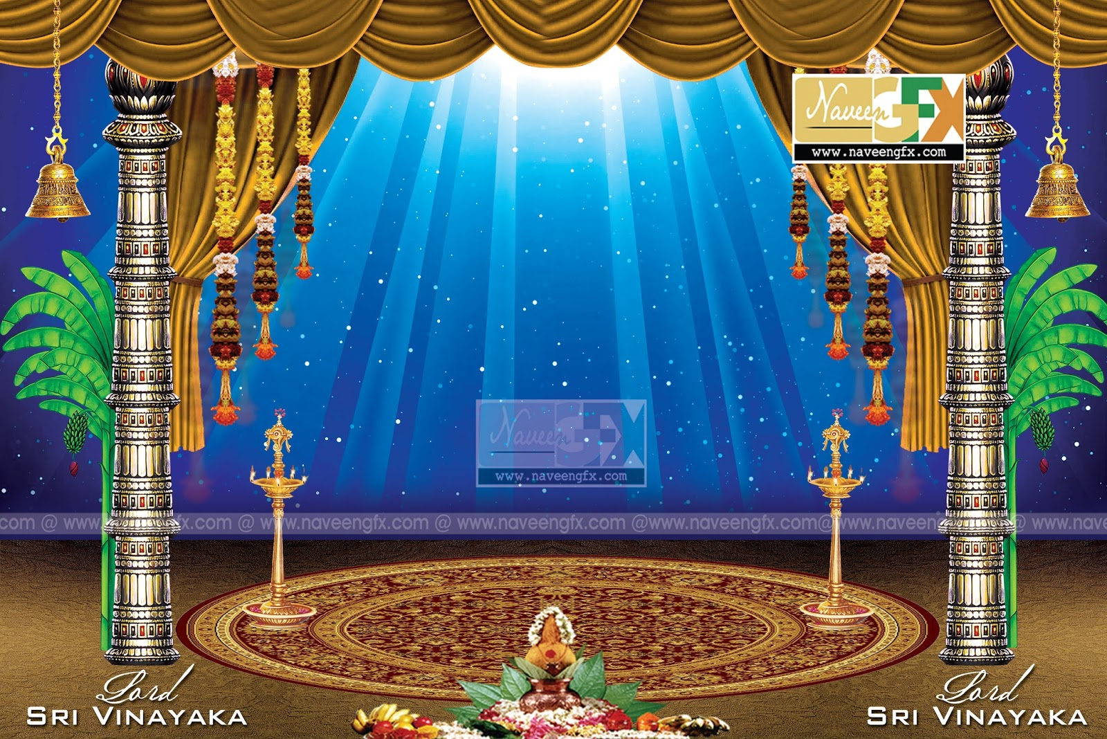 Creative stage background design for ganesh chaturthi for Background decoration for ganesh festival