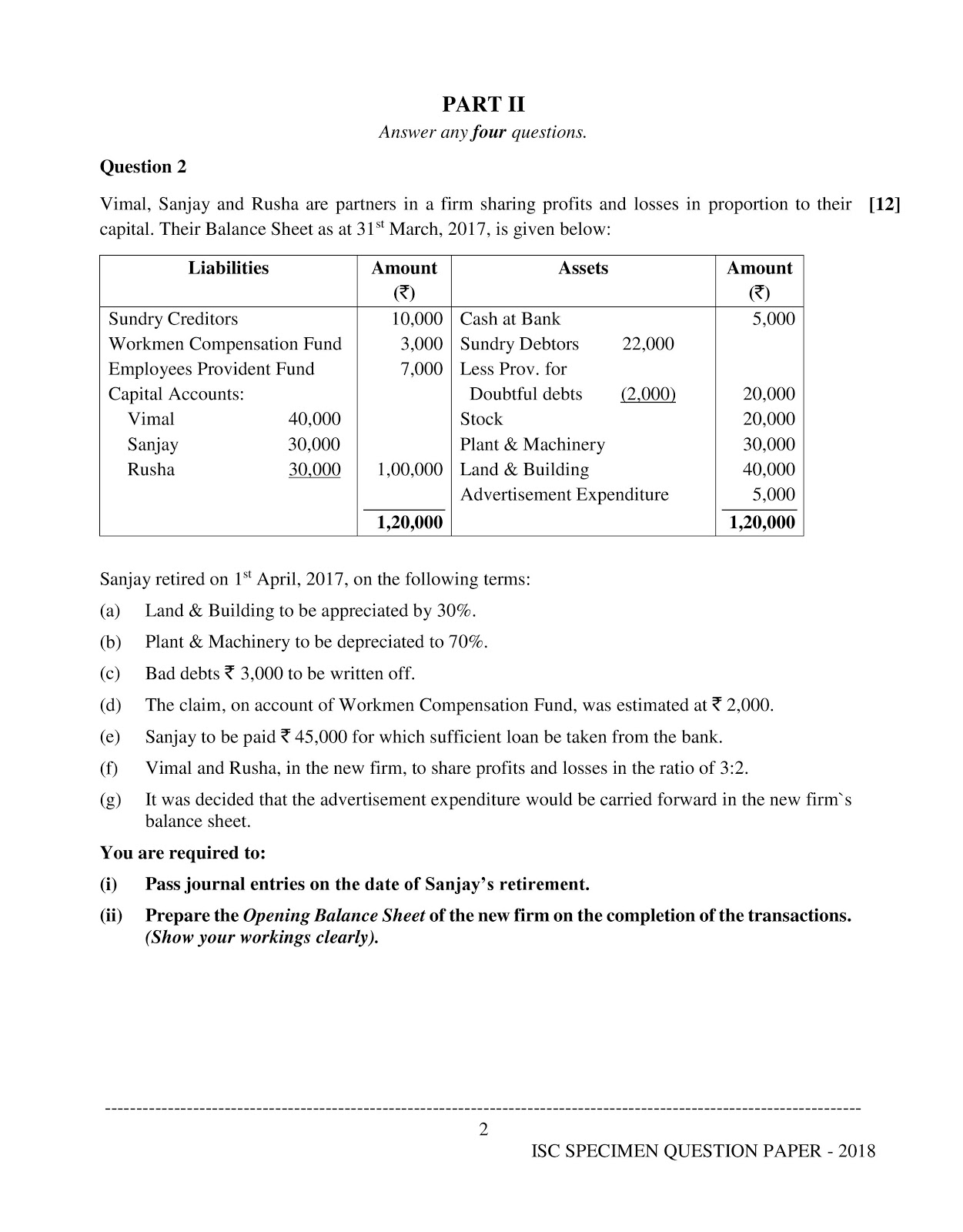 isc 2018 class 12th Accountancy question paper