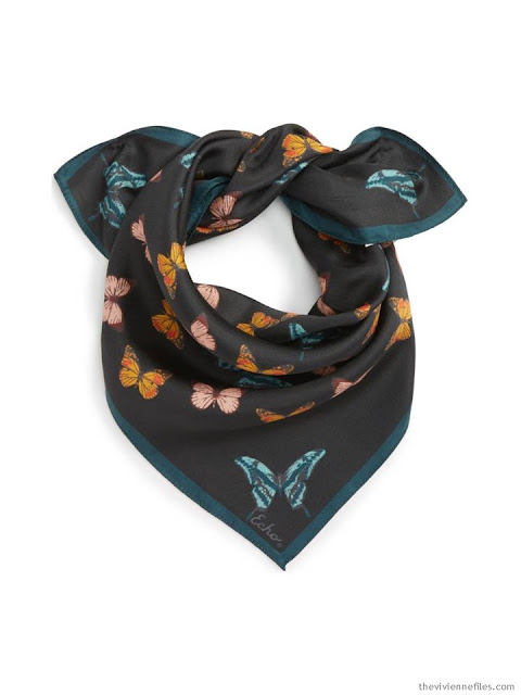 Echo Butterfly Silk Bandana in black with teal