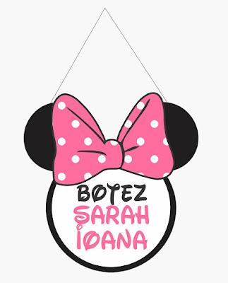 Panou Intrare botez tematic Minnie Mouse realizat din cap cu urechi si inscrisul botez si numele bebelusului
