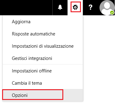 Opzioni di Outlook on the Web